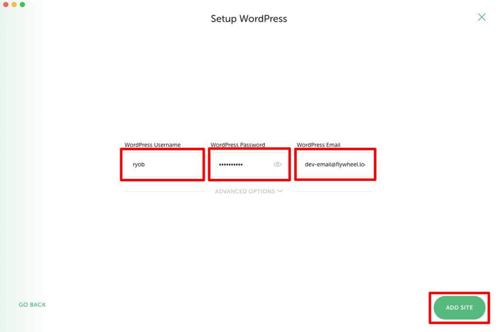 WordPressのログイン情報を入力