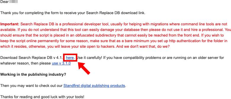 Search Replace DBのダウンロードリンクをクリック