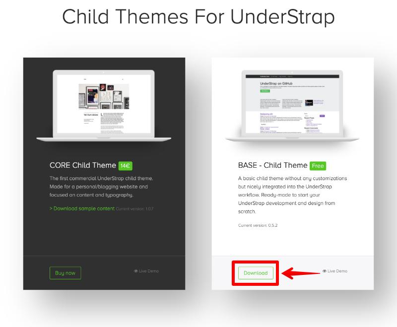 understrapの子テーマをダウンロード